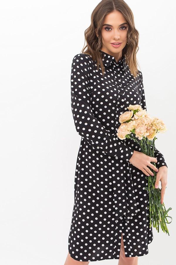 Платье-рубашка Элиза д/р GL67486 цвет черный-белый горох