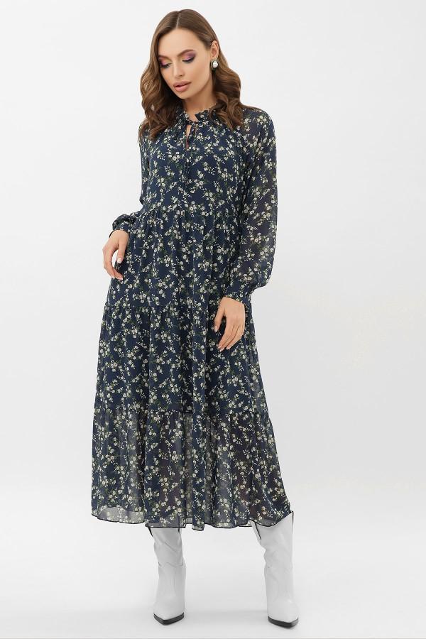 Сукня Маріетта д / р GL68121 Колір Синій-Білий М. квіти