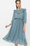 Платье Палома д/р GL68122 цвет бирюза-белый горох