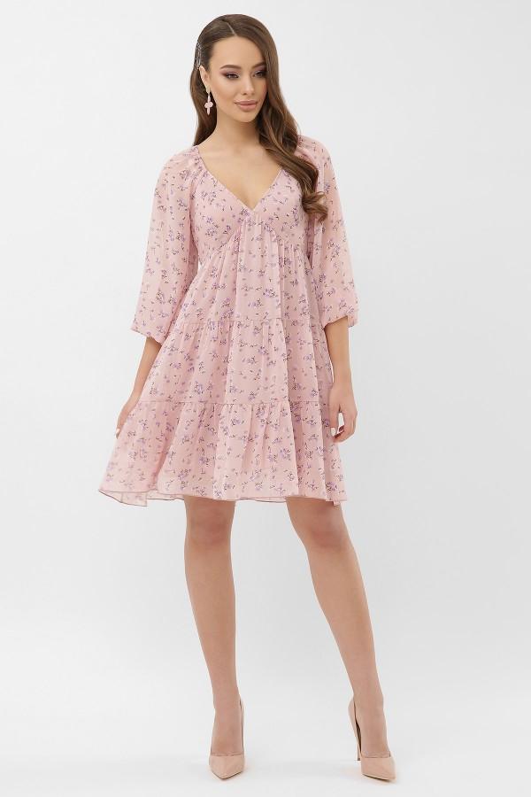 Платье Хельга д/р GL66465 цвет пудра-сиреневый цветок