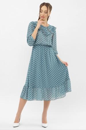 Плаття Палома д/р GL68122 колір бірюза-білий горох