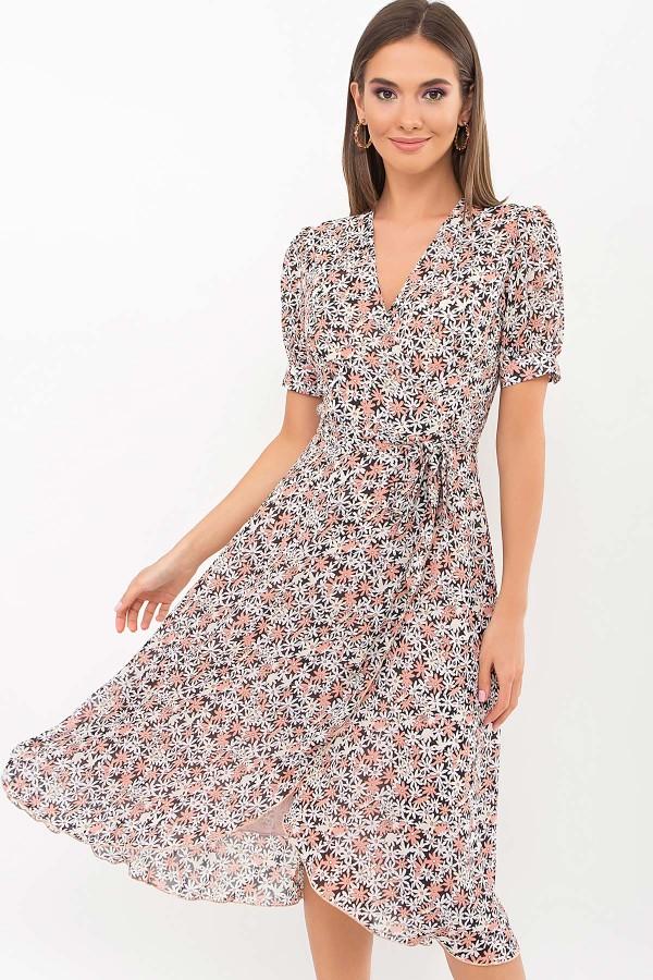 Плаття Алеста к/р GL69468 колір чорний-ромашки