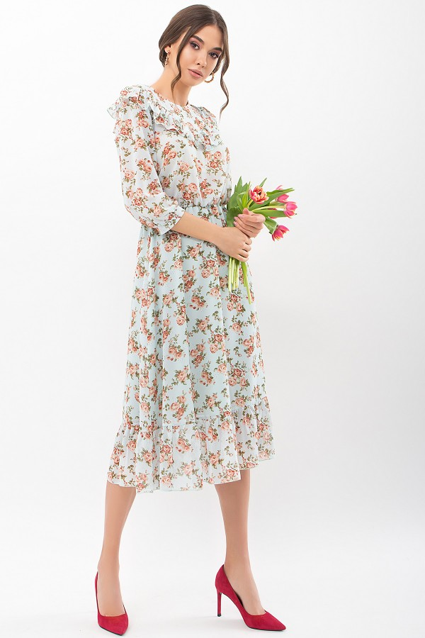 Сукня Палома д / р GL68188 колір м'ята-персик троянди