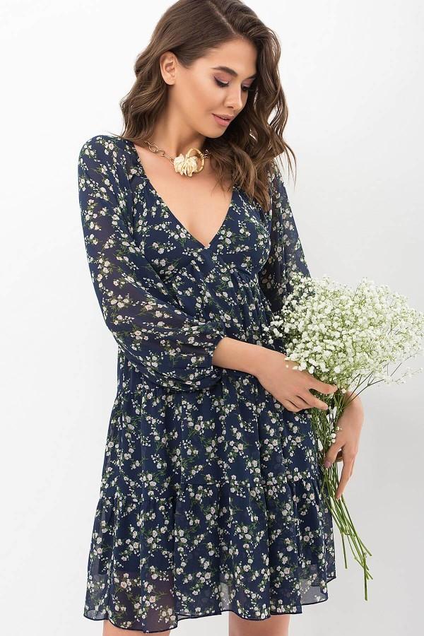 Платье Хельга д/р GL68129 цвет синий-белый м.цветы