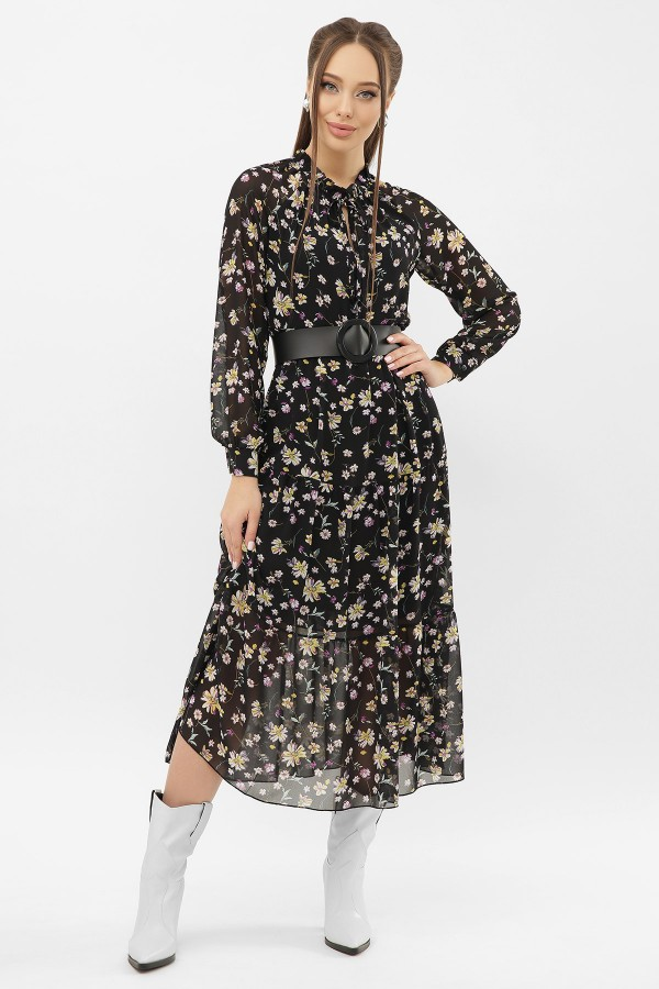 Сукня Маріетта д / р GL68119 Колір чорний-жовта квітка