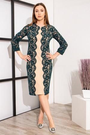 Нарядне плаття у візерунках YM39201 бутилковий