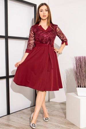 Чарівне плаття з візерунками YM39302 малинового кольору