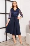 платье с узорами YM39301 т.синий