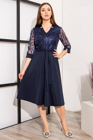 сукня з візерунками YM39301 темно-синього кольору