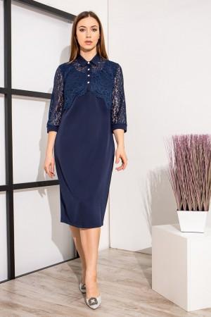 Красиве плаття з візерунками YM39401 темно-синього кольору