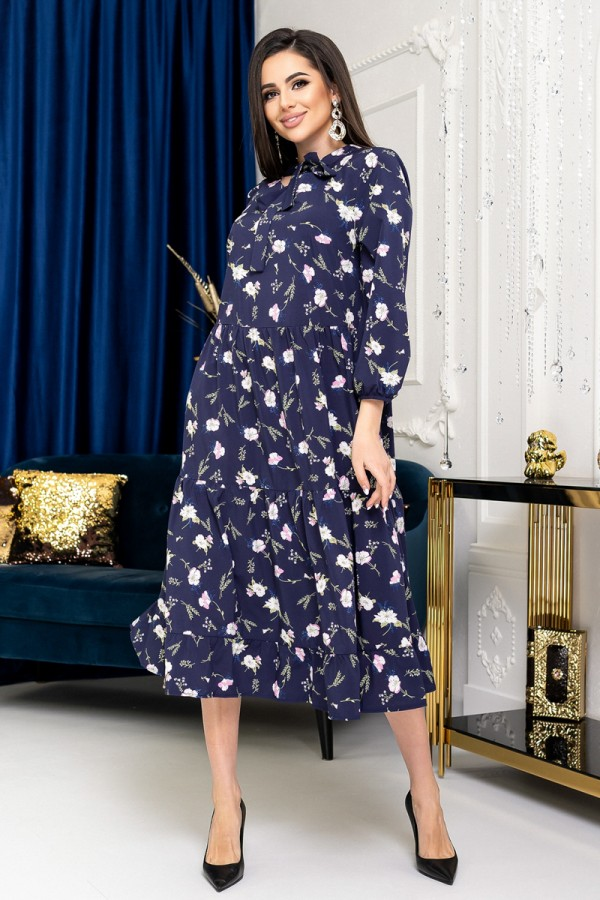 Ніжне плаття YM40104 темно-синє
